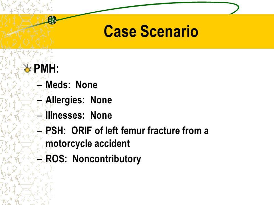 Case Scenario PMH: Meds: None Allergies: None Illnesses: None