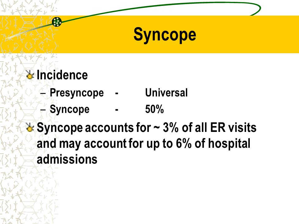 Syncope Incidence. Presyncope - Universal. Syncope - 50%
