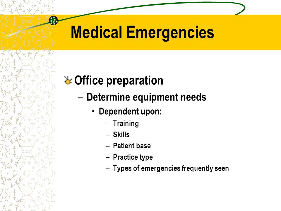 Medical Emergencies Office preparation Determine equipment needs