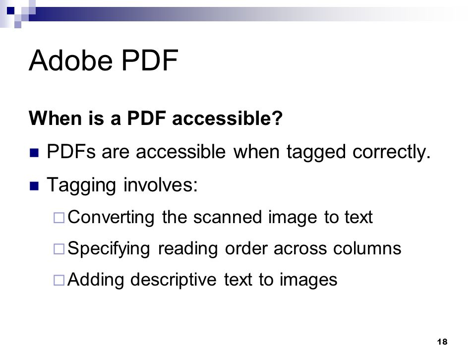 Adobe PDF When is a PDF accessible