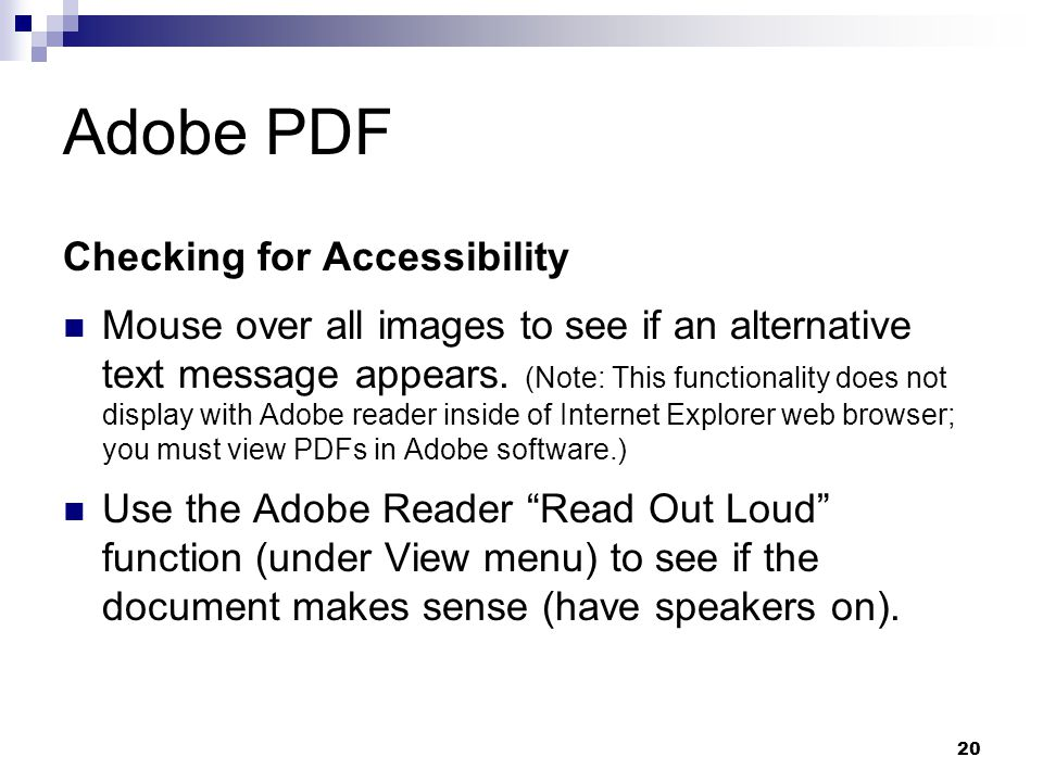 Adobe PDF Checking for Accessibility