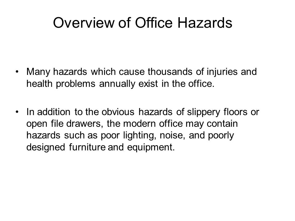 Overview of Office Hazards