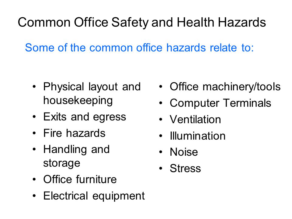 Common Office Safety and Health Hazards