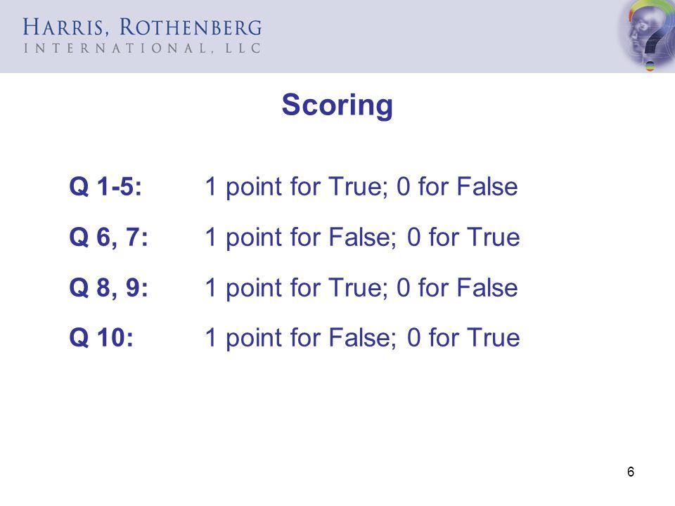 Scoring Q 1-5: 1 point for True; 0 for False