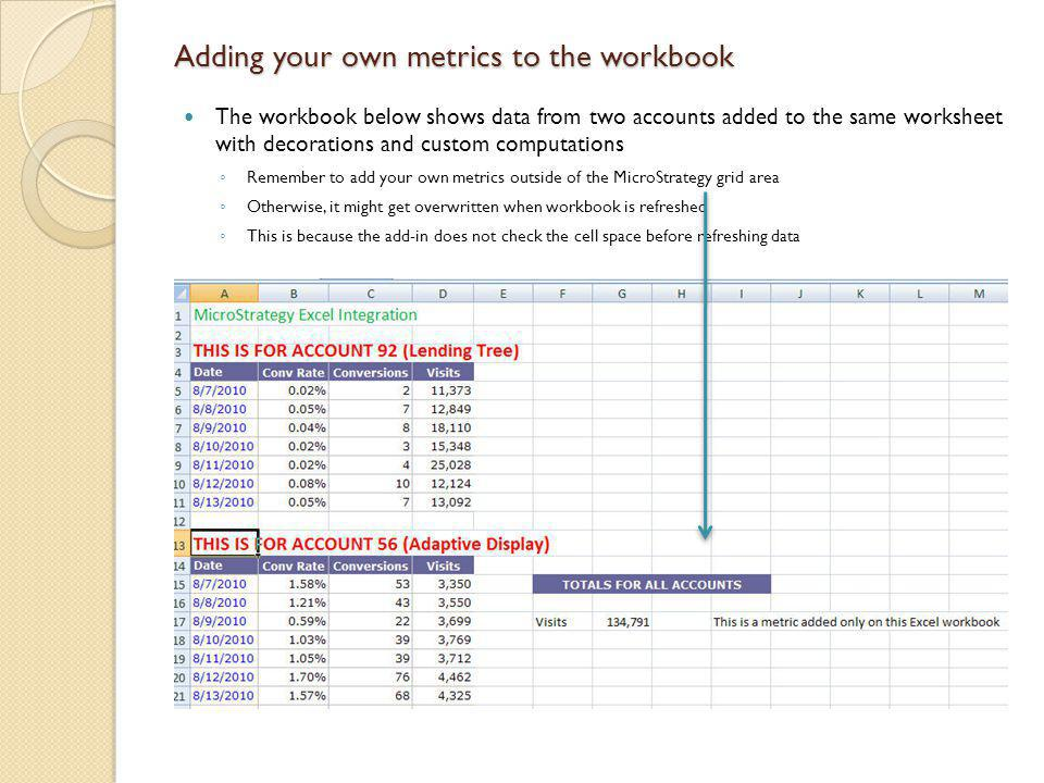 Adding your own metrics to the workbook