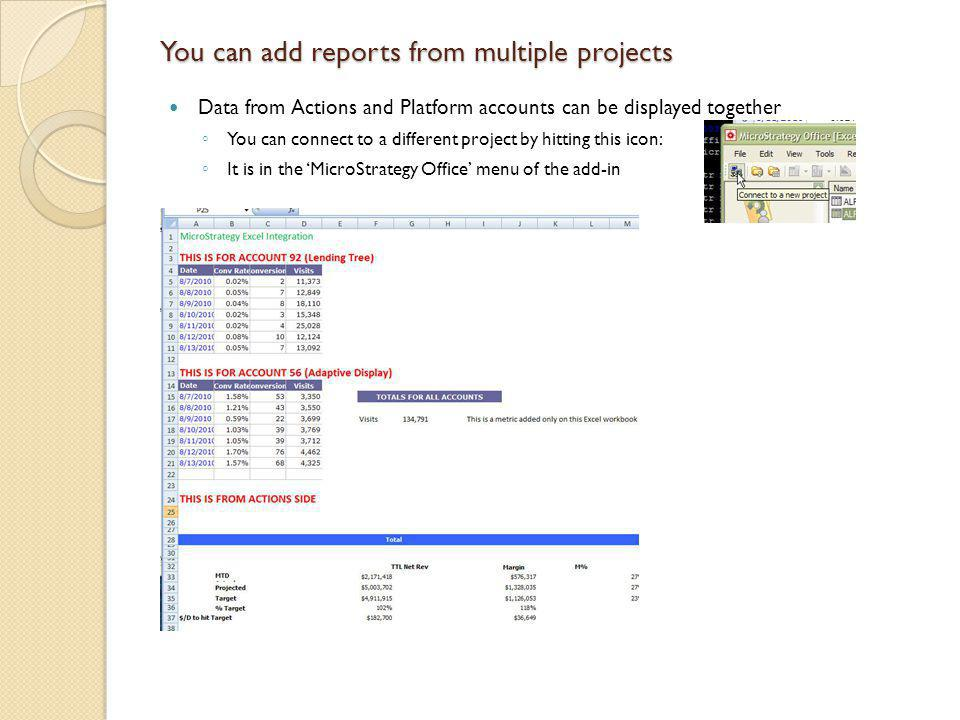 You can add reports from multiple projects