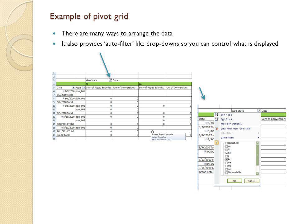 Example of pivot grid There are many ways to arrange the data
