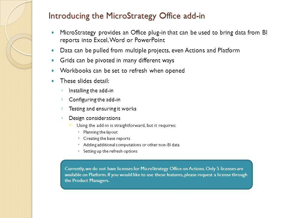 Introducing the MicroStrategy Office add-in