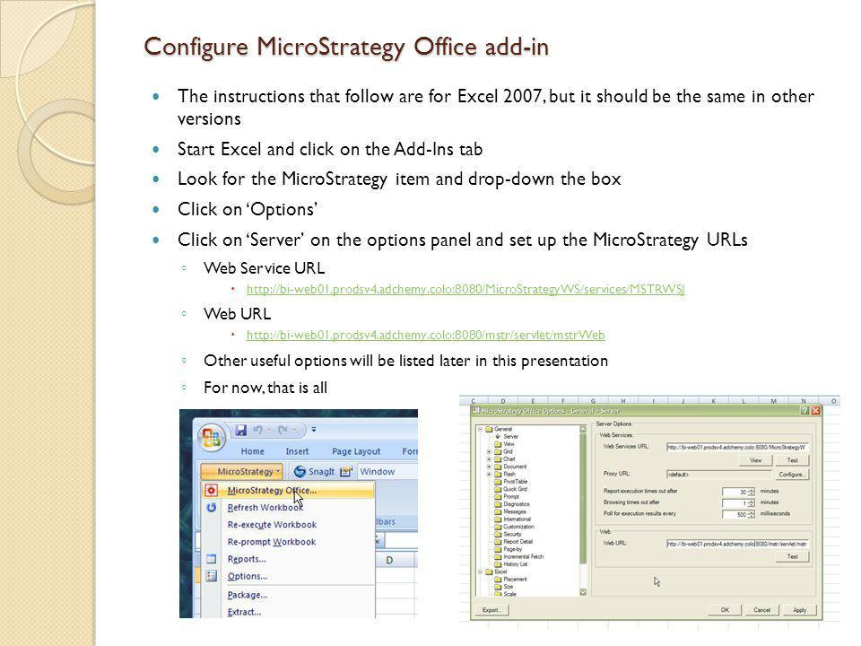 Configure MicroStrategy Office add-in