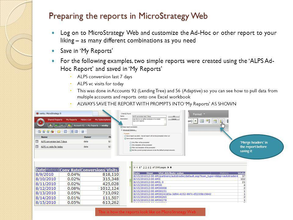 Preparing the reports in MicroStrategy Web