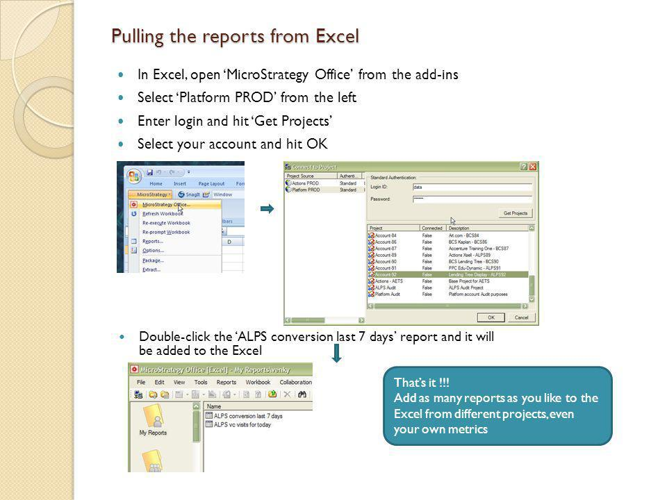 Pulling the reports from Excel