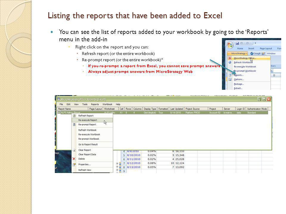 Listing the reports that have been added to Excel