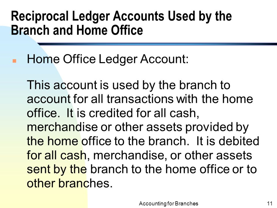 Reciprocal Ledger Accounts Used by the Branch and Home Office