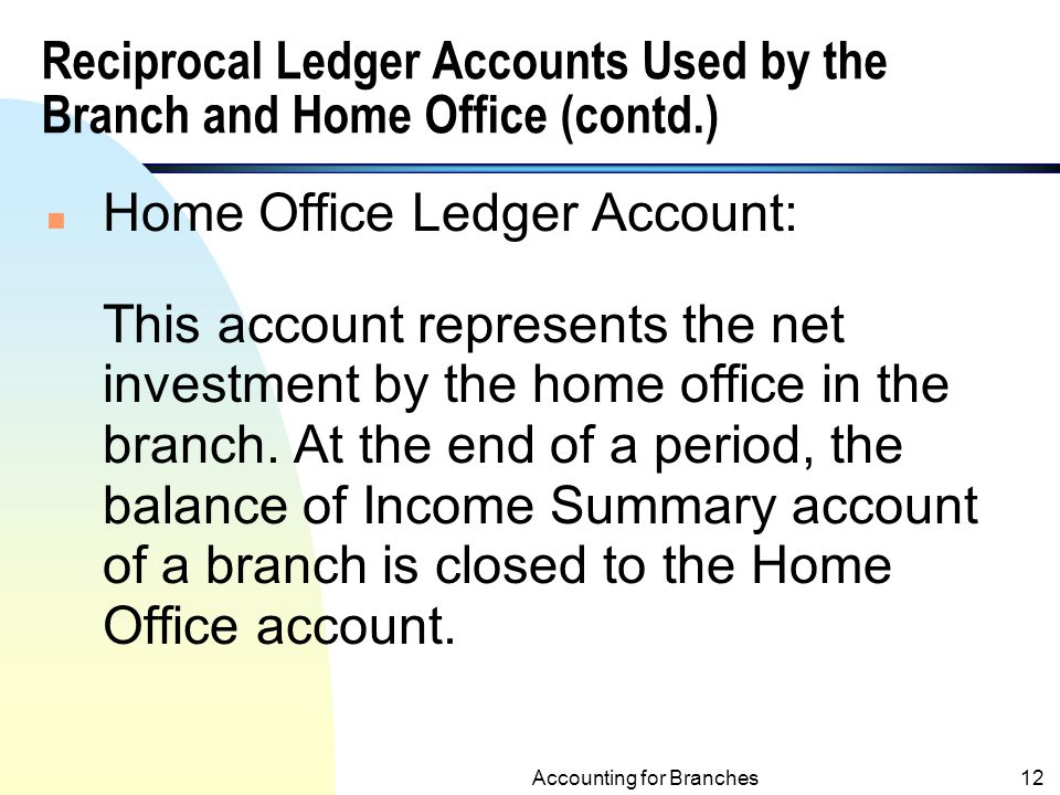 Reciprocal Ledger Accounts Used by the Branch and Home Office (contd.)