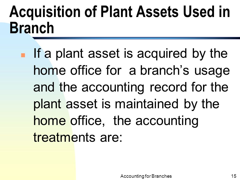 Acquisition of Plant Assets Used in Branch