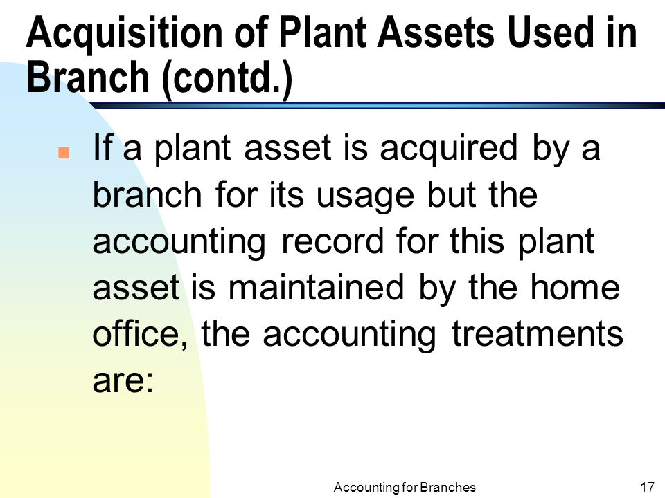 Acquisition of Plant Assets Used in Branch (contd.)