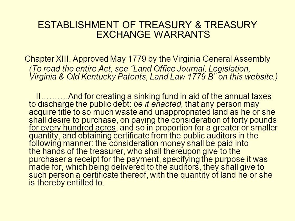 ESTABLISHMENT OF TREASURY & TREASURY EXCHANGE WARRANTS