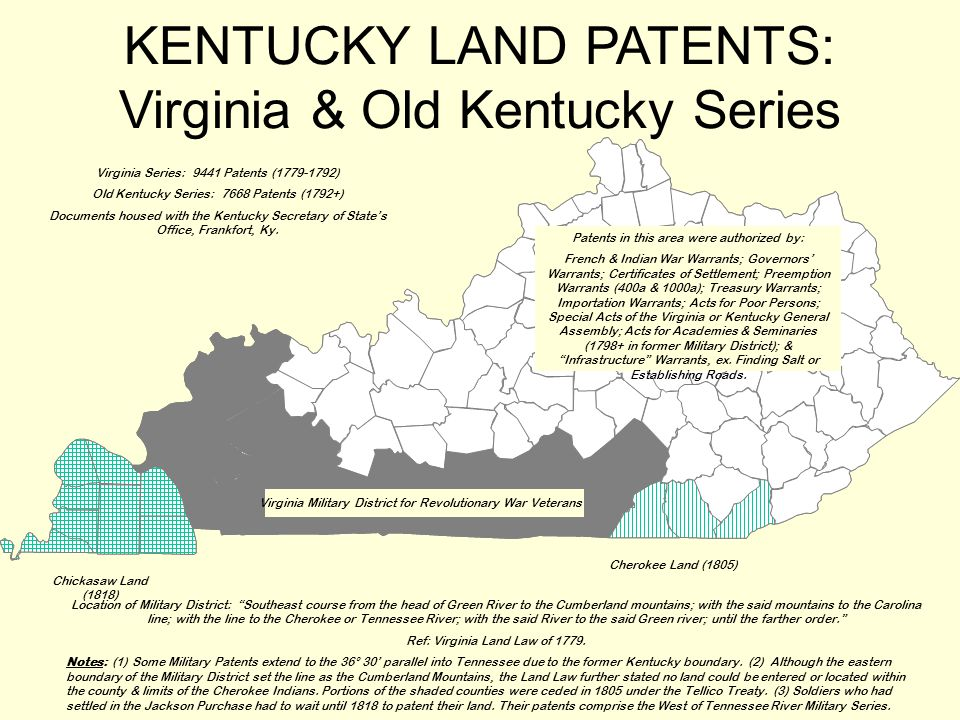 KENTUCKY LAND PATENTS: Virginia & Old Kentucky Series