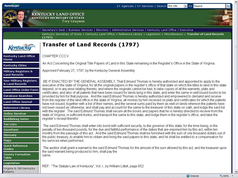 Papers affecting Kentucky land title were transferred from Virginia to Frankfort in sufficient trunks .