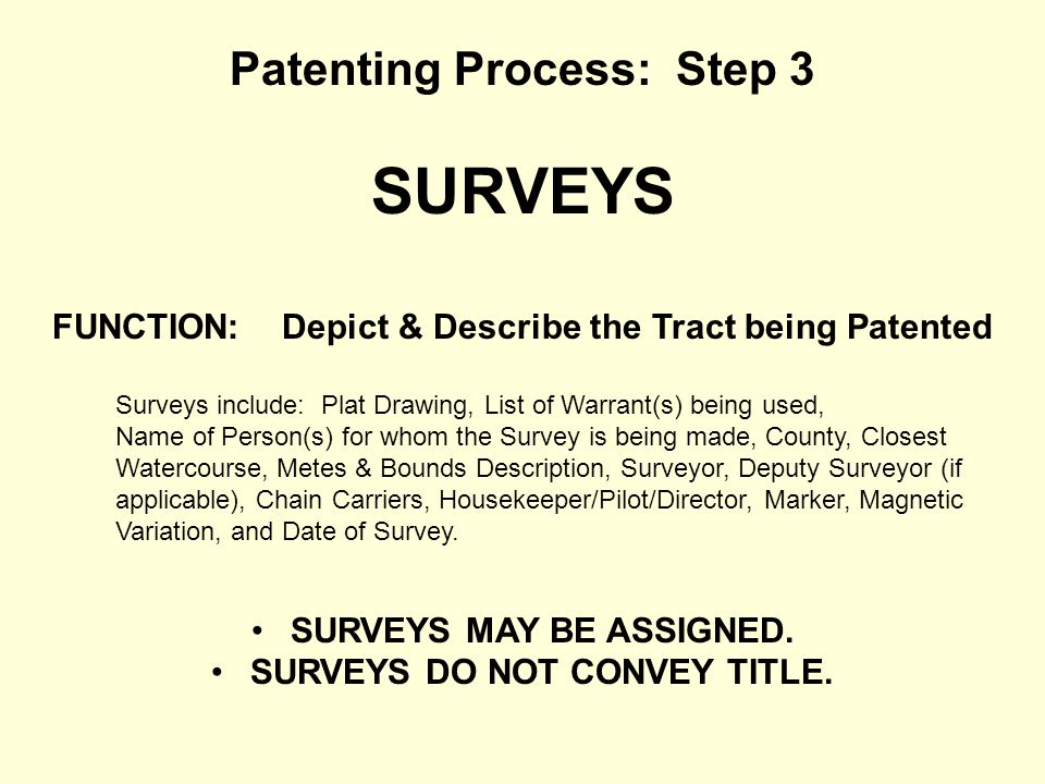 SURVEYS Patenting Process: Step 3
