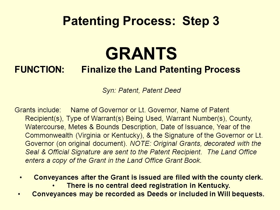 GRANTS Patenting Process: Step 3