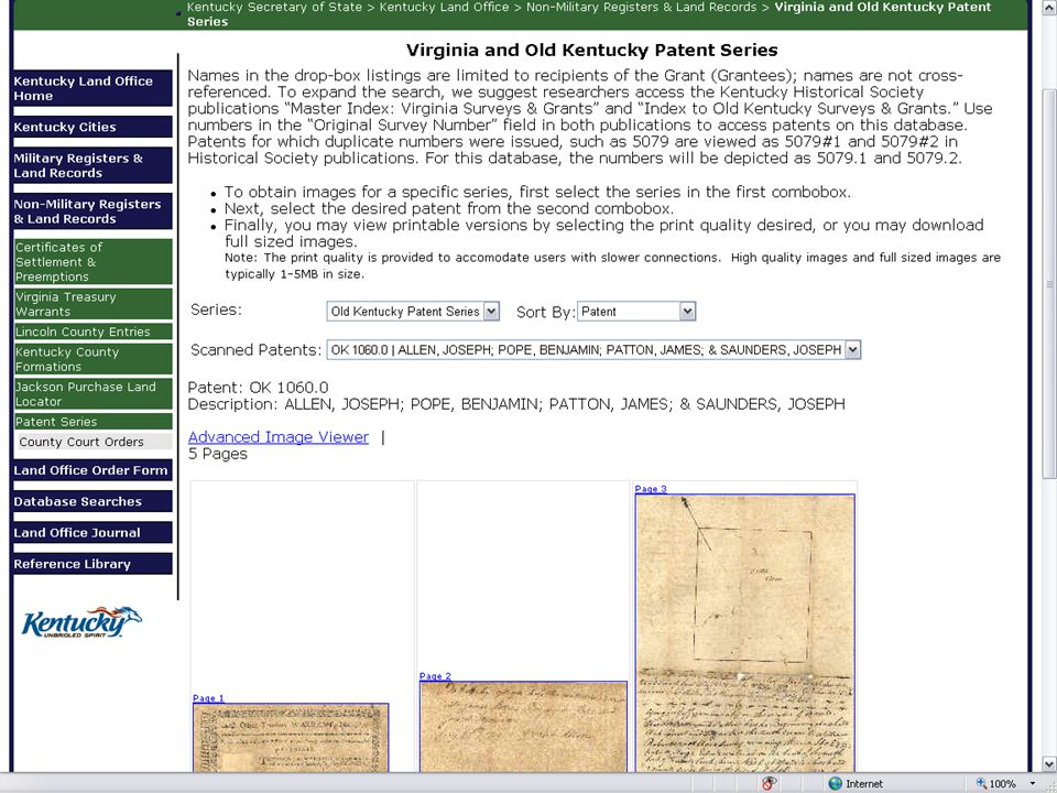 The Virginia Patent Series & the Old Kentucky Patent Series are now available on the Secretary of State's Land Office in the Non-Military Registers & Land Records channel.
