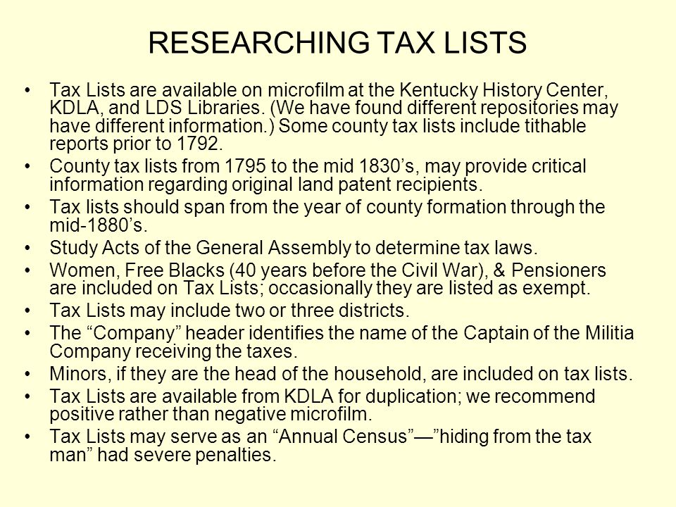 RESEARCHING TAX LISTS