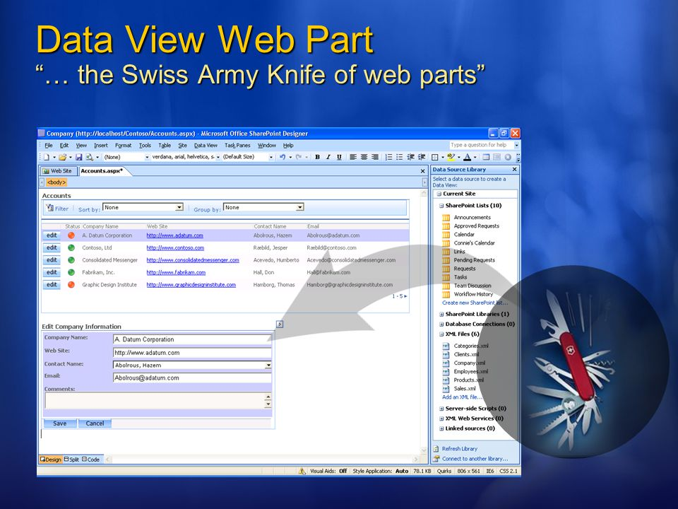 Data View Web Part … the Swiss Army Knife of web parts