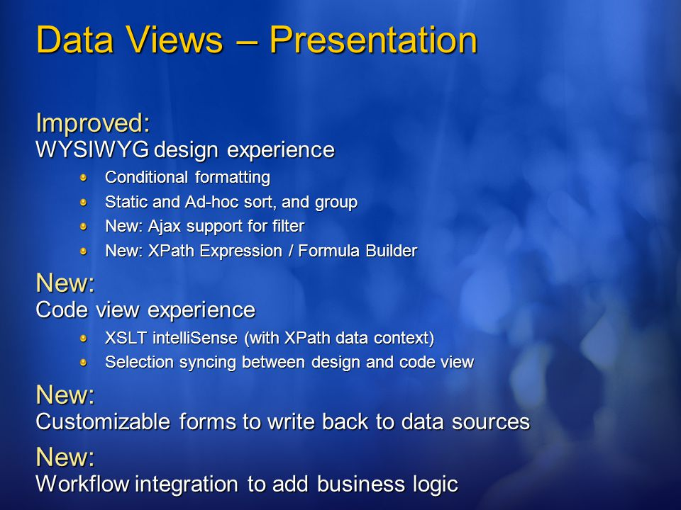 Data Views – Presentation