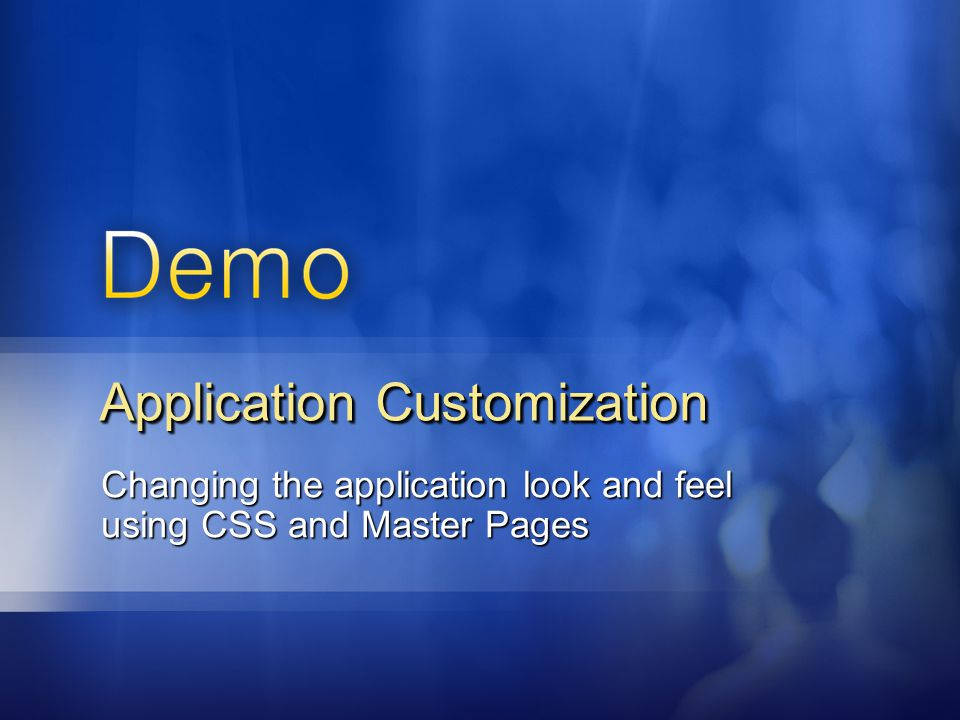 Application Customization