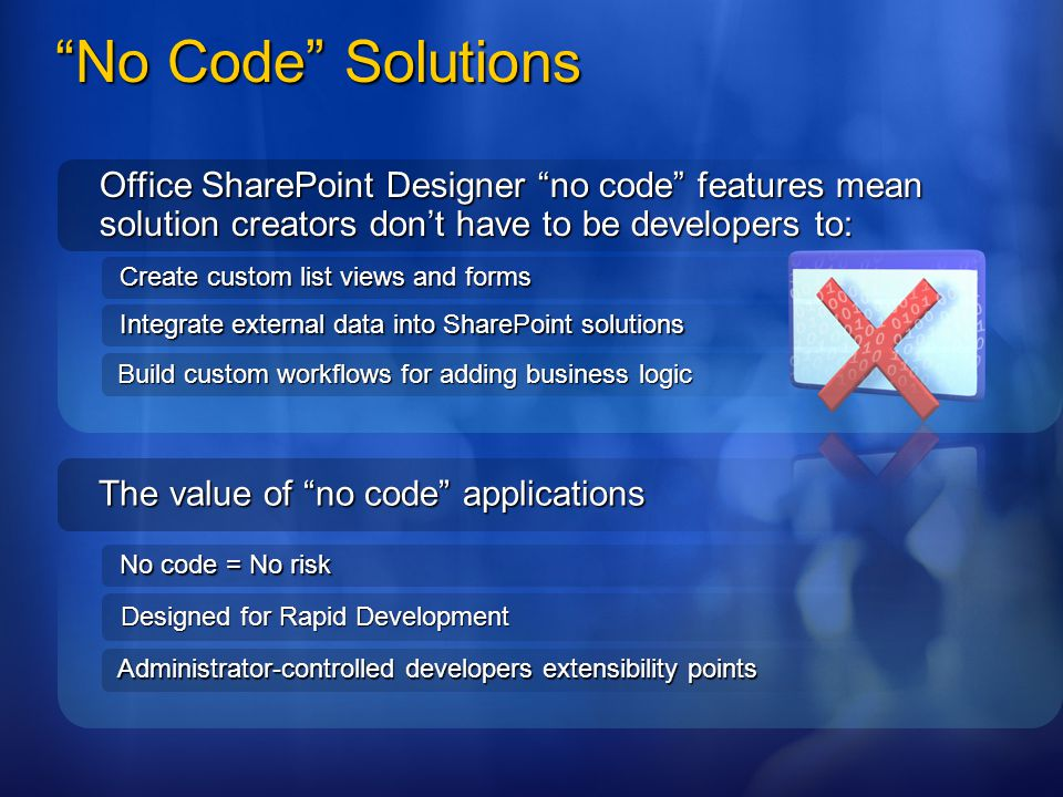 4/2/2017 3:10 AM No Code Solutions. Office SharePoint Designer no code features mean solution creators don't have to be developers to: