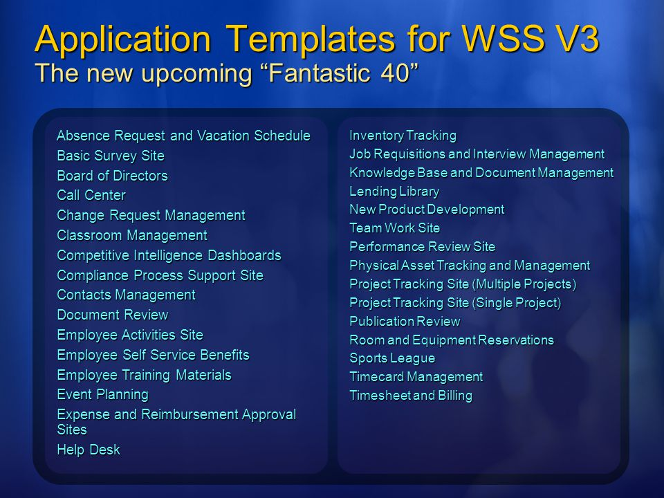 Application Templates for WSS V3 The new upcoming Fantastic 40