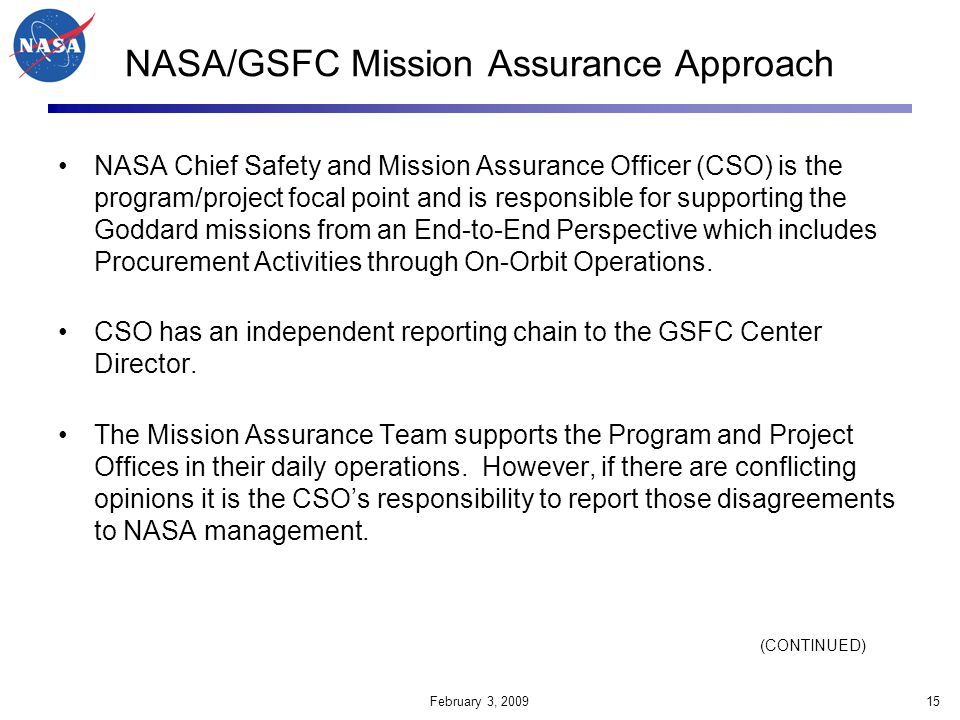 NASA/GSFC Mission Assurance Approach