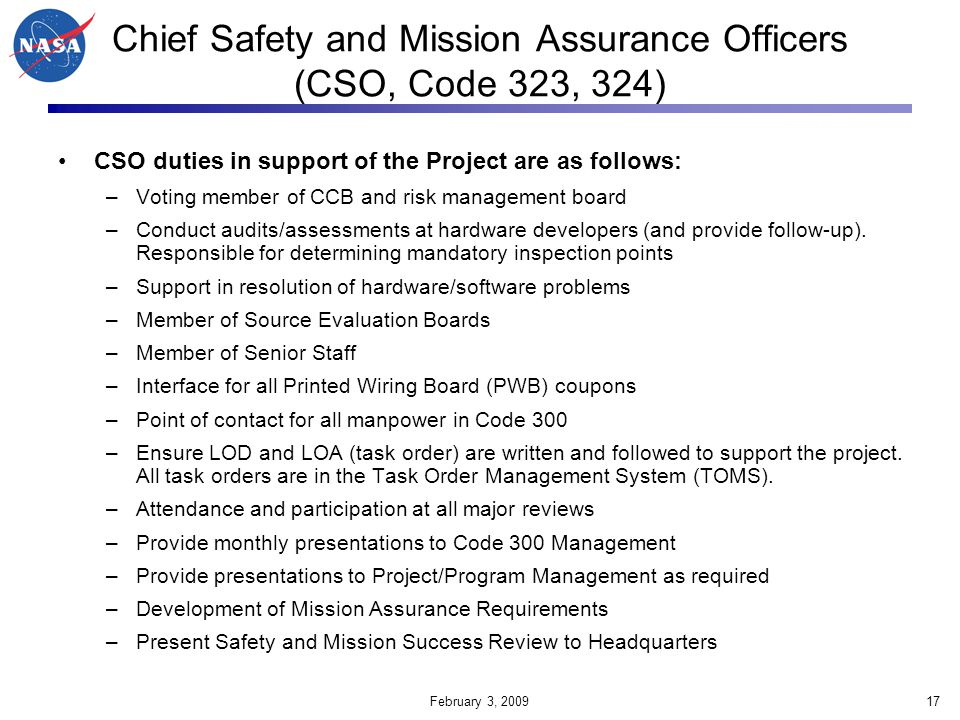 Chief Safety and Mission Assurance Officers (CSO, Code 323, 324)