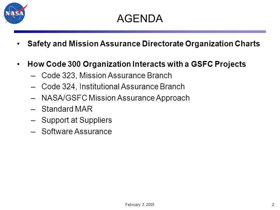 AGENDA Safety and Mission Assurance Directorate Organization Charts