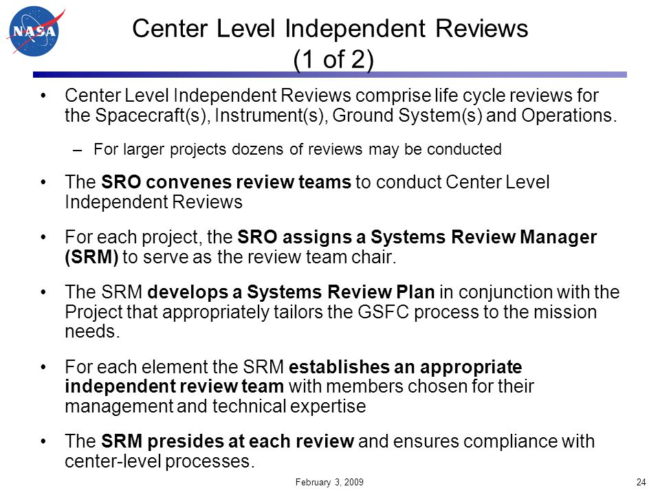 Center Level Independent Reviews (1 of 2)