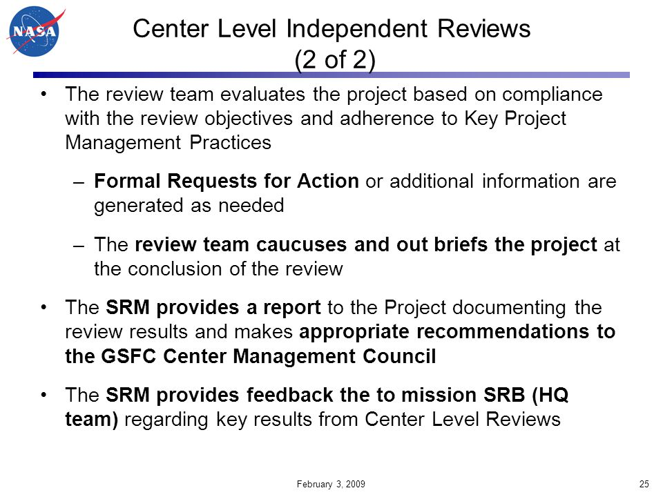 Center Level Independent Reviews (2 of 2)
