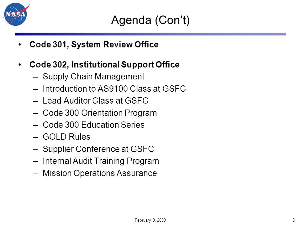 Agenda (Con't) Code 301, System Review Office