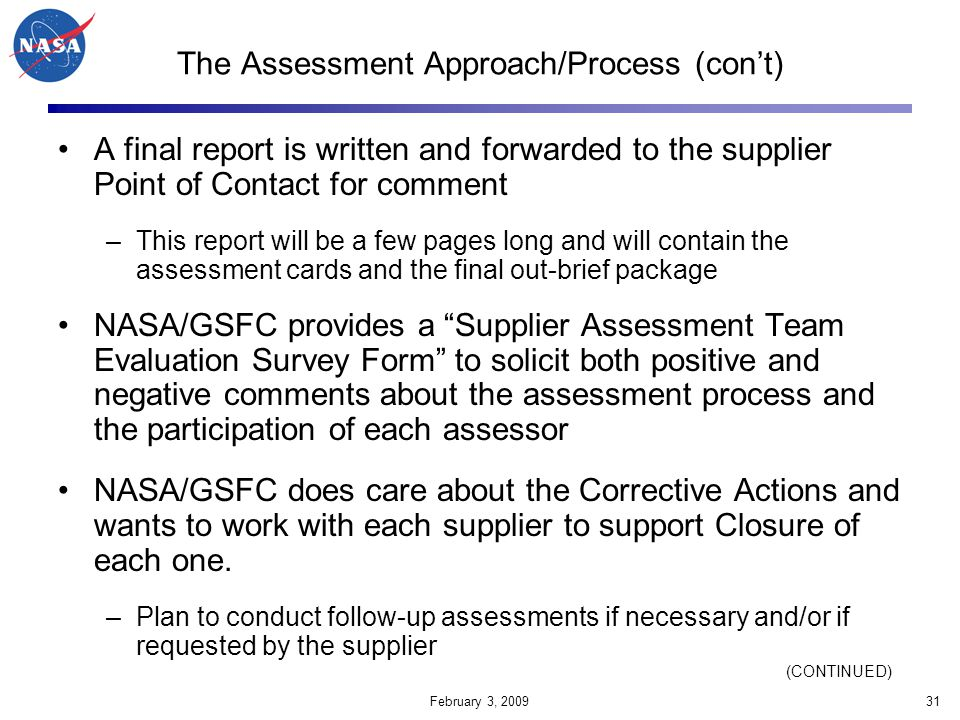 The Assessment Approach/Process (con't)