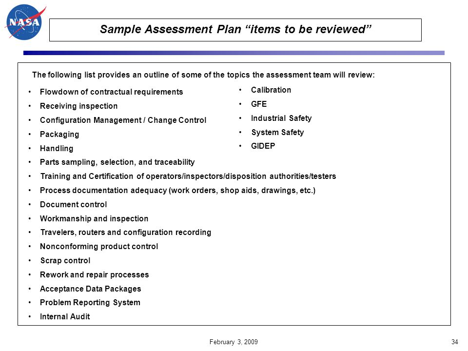 Sample Assessment Plan items to be reviewed