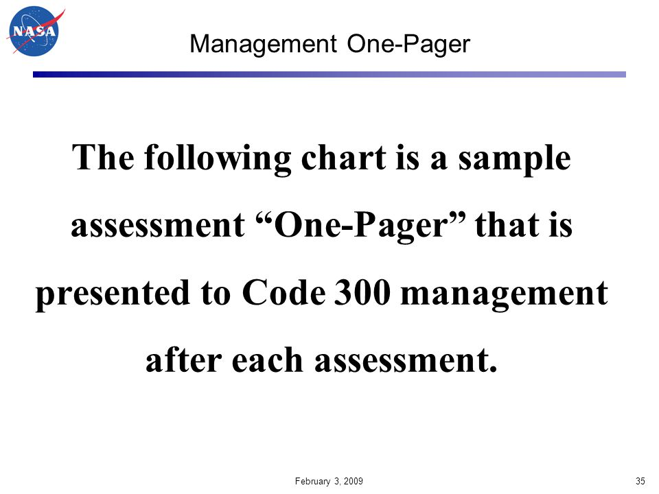 Management One-Pager The following chart is a sample assessment One-Pager that is presented to Code 300 management after each assessment.