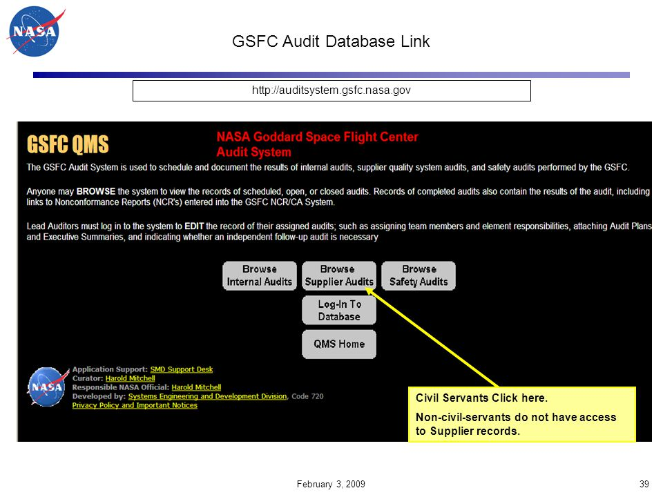 GSFC Audit Database Link