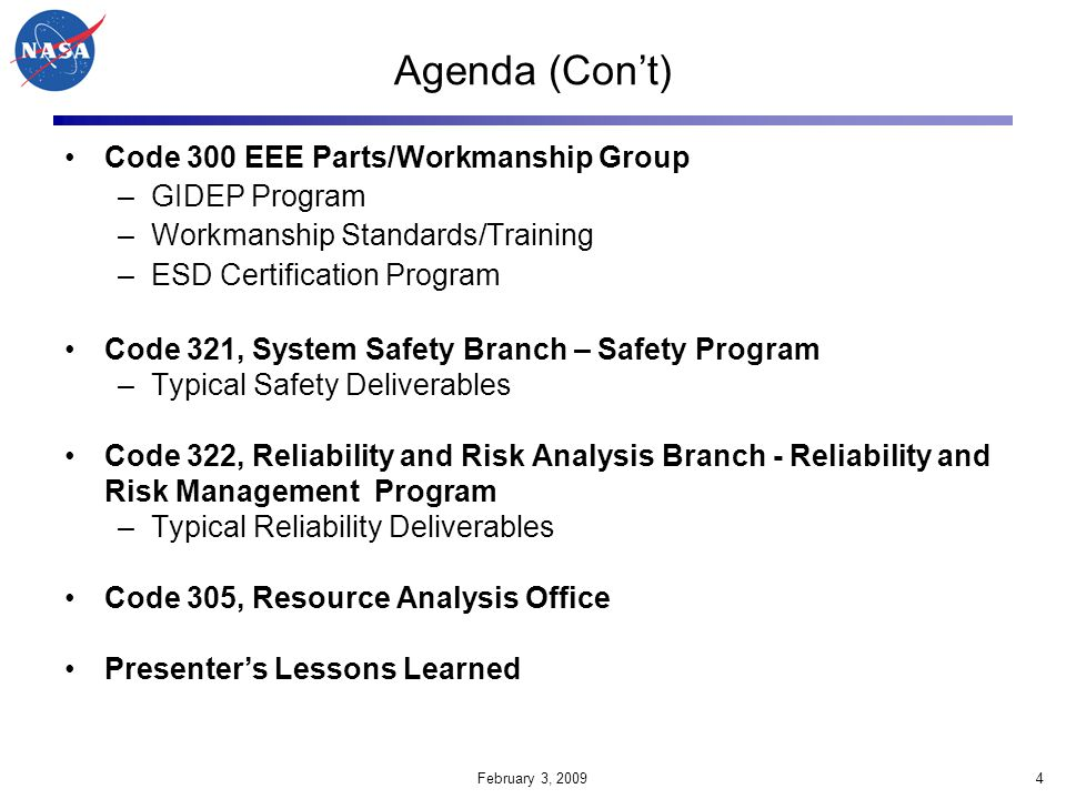 Agenda (Con't) Code 300 EEE Parts/Workmanship Group GIDEP Program