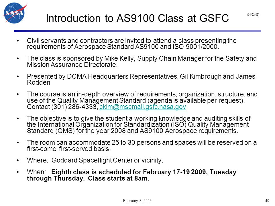 Introduction to AS9100 Class at GSFC