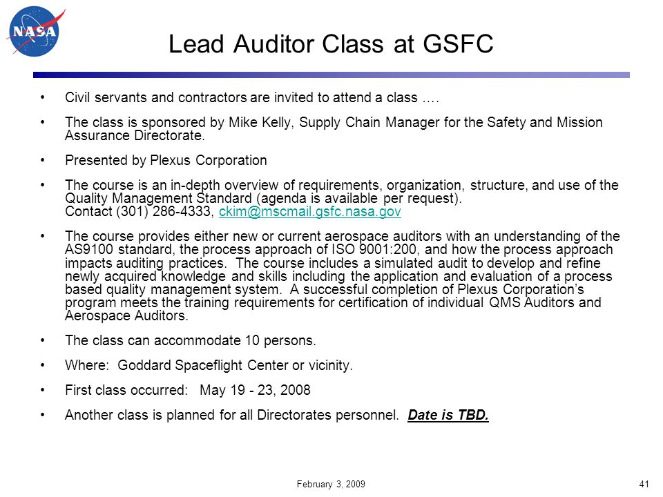 Lead Auditor Class at GSFC