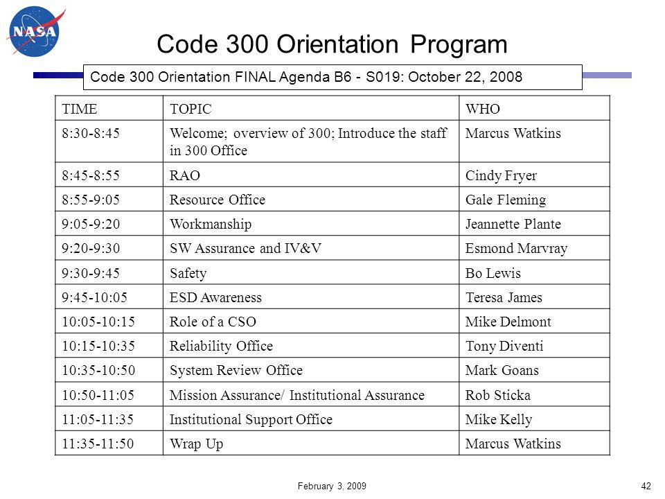 Code 300 Orientation Program