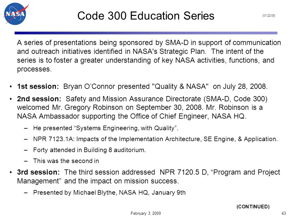 Code 300 Education Series (01/22/09)