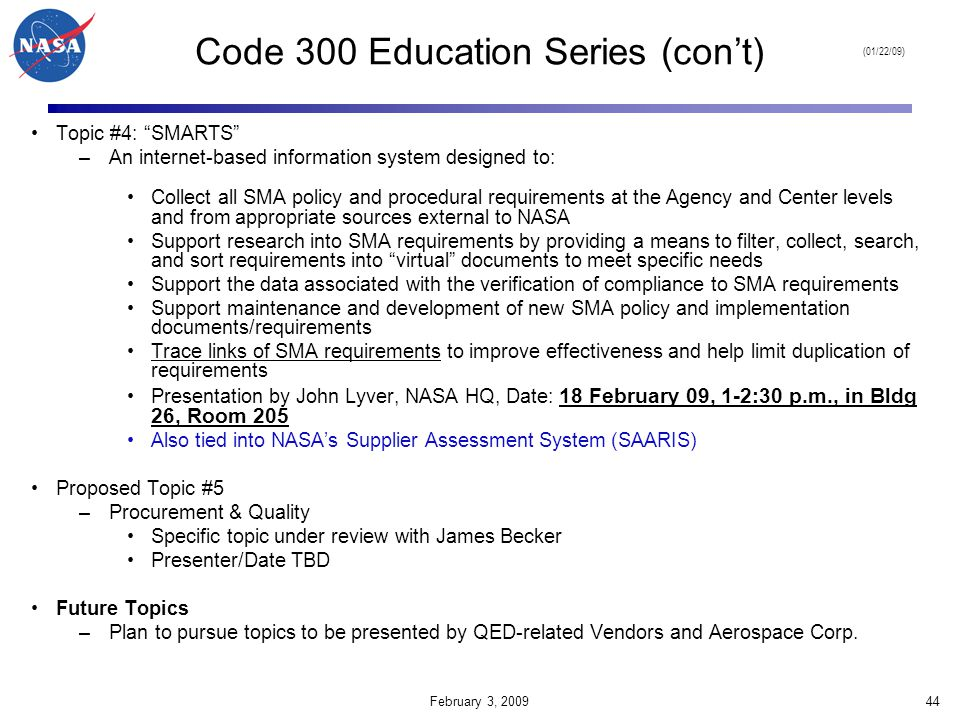 Code 300 Education Series (con't)