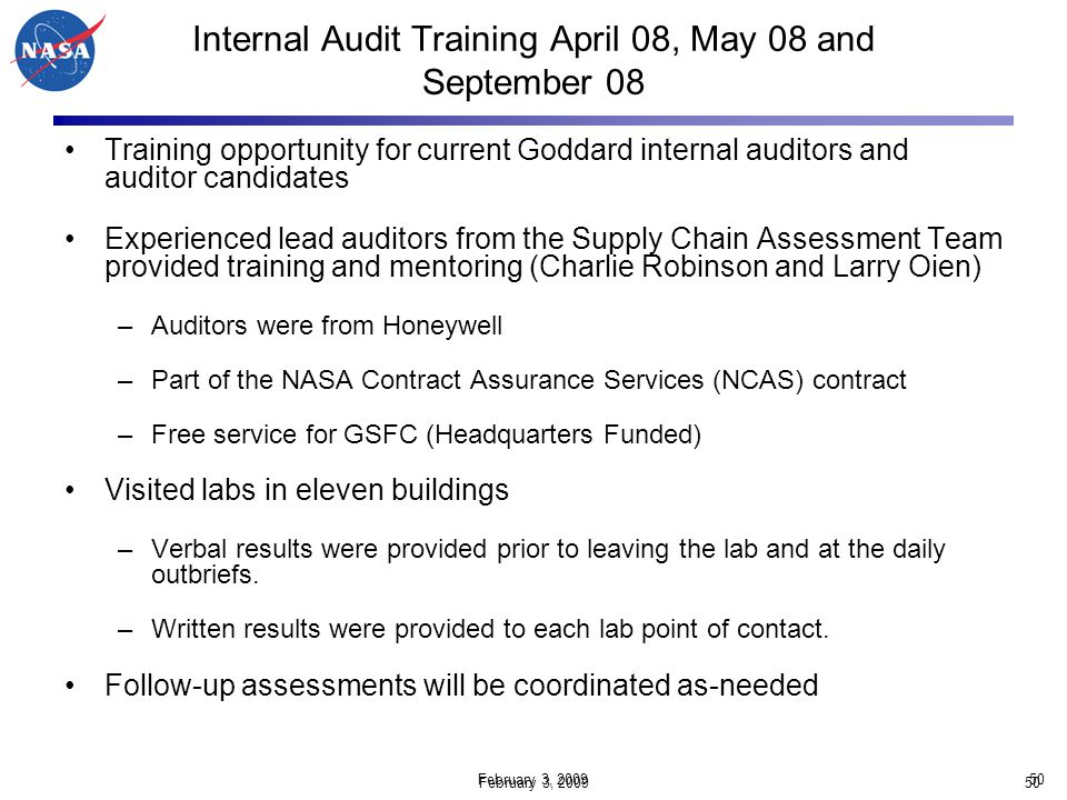Internal Audit Training April 08, May 08 and September 08