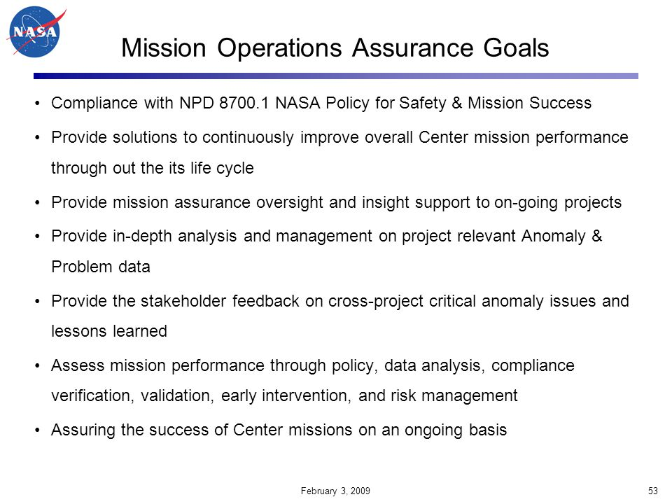 Mission Operations Assurance Goals